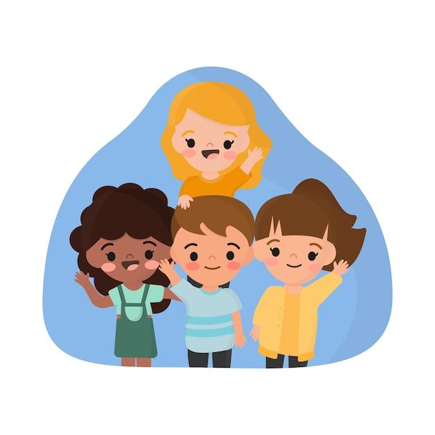 Illustration Avec Groupe D'enfants Agitant La Main Vecteur gratuit