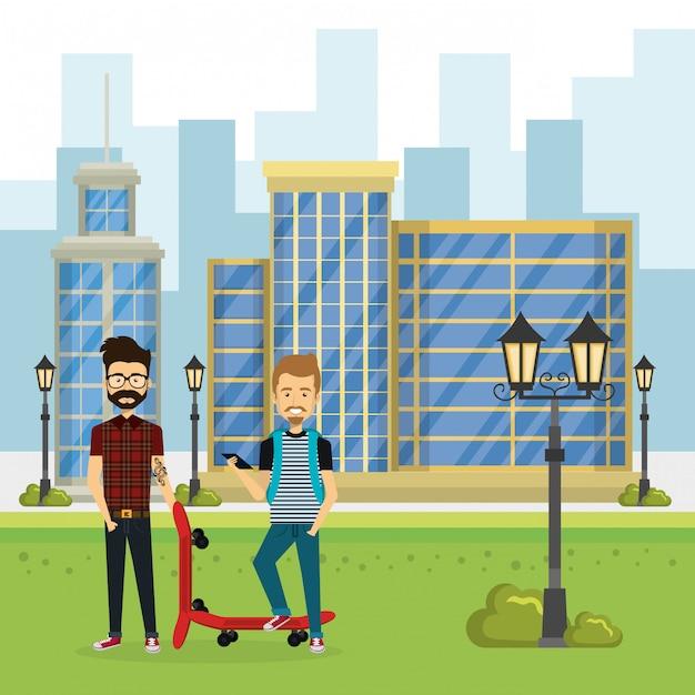 Illustration d'un groupe de personnes dans le parc Vecteur gratuit