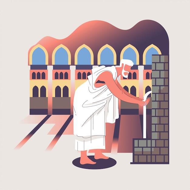 Illustration De Hajj Ou Omra Avec Personnage Et Concept De La Mecque Vecteur Premium