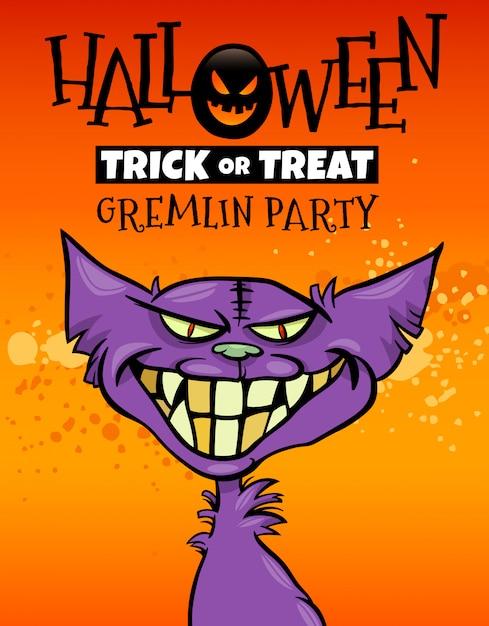 Illustration d'halloween avec gremlin Vecteur Premium