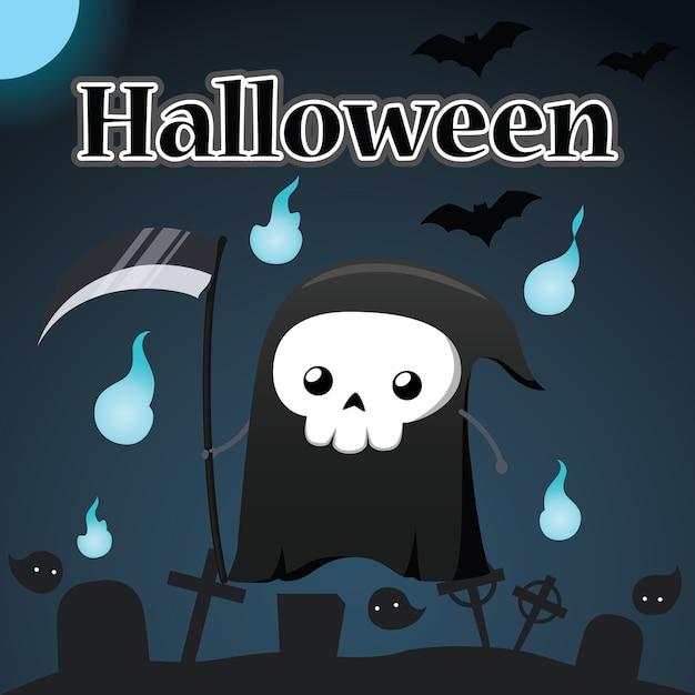 Illustration de halloween et reaper Vecteur Premium