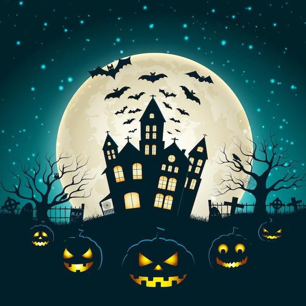Illustration D'halloween Avec La Silhouette Du Château à La Lune Rougeoyante Et Les Arbres Morts Près Du Cimetière Traverse à Plat Vecteur gratuit