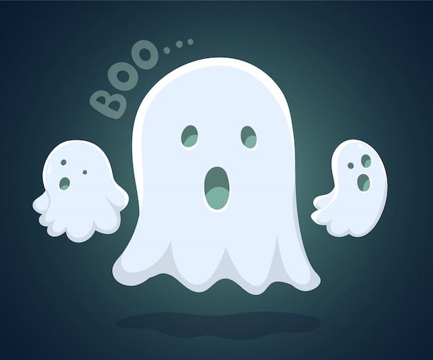 Illustration De Halloween De Vol Blanc Trois Fantômes Vecteur Premium