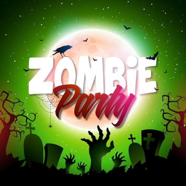 Illustration de halloween zombie party avec cimetière et lune Vecteur Premium