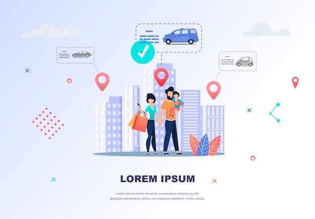 Illustration happy family cherche une voiture à louer Vecteur Premium