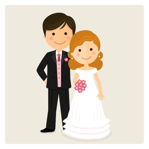 Illustration de l'heureux marié juste le jour de son mariage Vecteur Premium