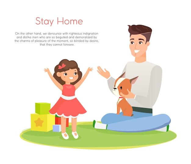 Illustration De L'heureux Père Jouant Avec Sa Fille Souriante Et Son Chien, Passer Du Temps Ensemble, Rester à La Maison Vecteur Premium