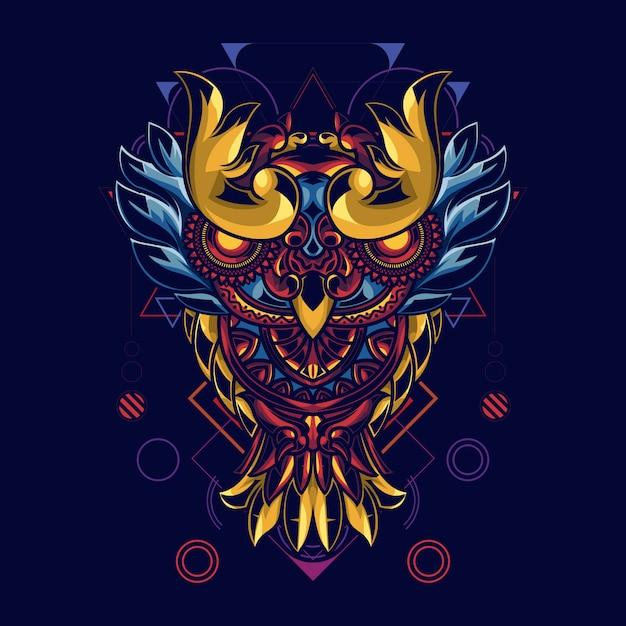 Illustration De Hiboux Avec Des Ornements De Mandala Vecteur Premium