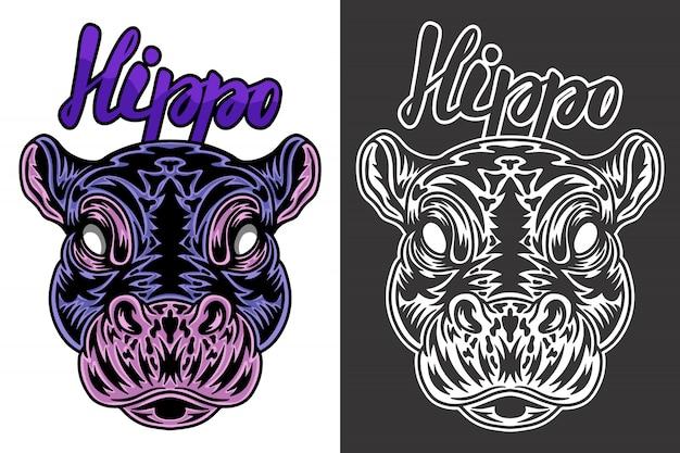 Illustration d'hippo vintage Vecteur Premium