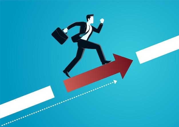 Illustration D'un Homme D'affaires En Cours D'exécution Sur La Flèche Pour Atteindre La Cible. Décrire L'entreprise Cible. Vecteur Premium