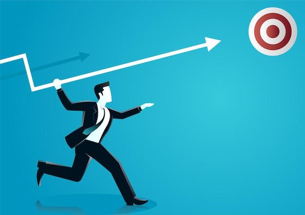 Illustration D & # 39; Un Homme D & # 39; Affaires Lançant Une Flèche Au Conseil Cible Décrire L'entreprise Cible. Vecteur Premium