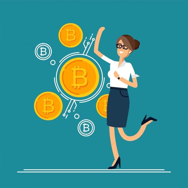 Illustration D'homme D'affaires Saute De Joie Car Il Fait Des Investissements Pour Le Bitcoin Et La Blockchain. Vecteur Premium