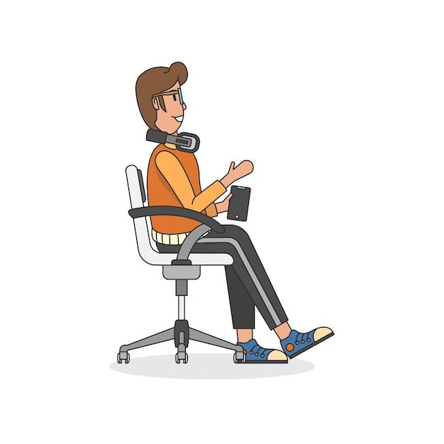Illustration d'un homme assis sur une chaise Vecteur gratuit