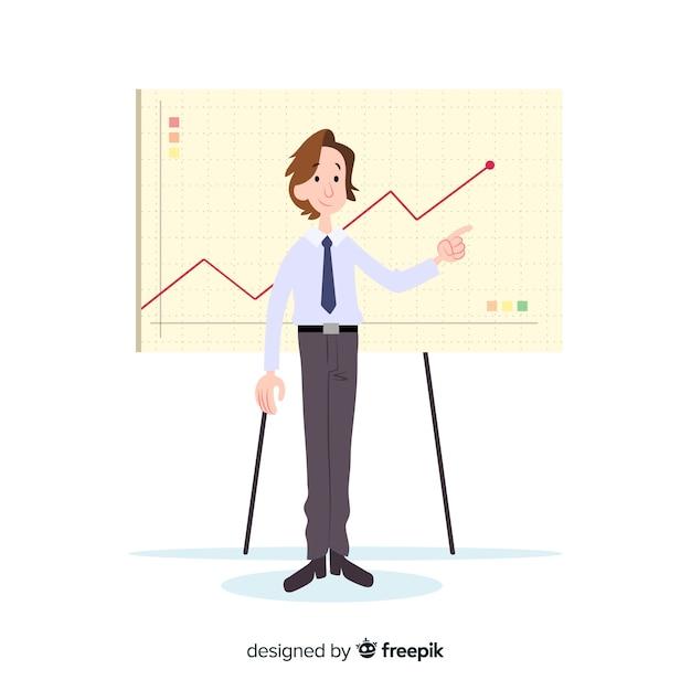 Illustration d'un homme au bureau Vecteur gratuit