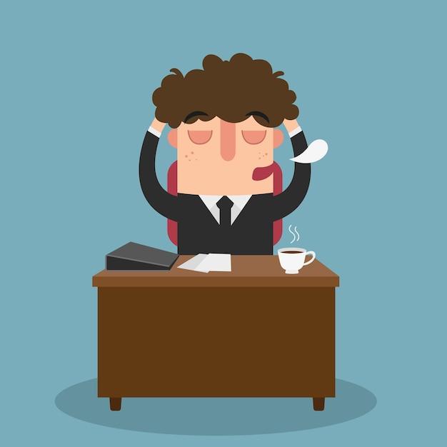 Illustration De L'homme De Bureau S'endormant En Travaillant Vecteur Premium