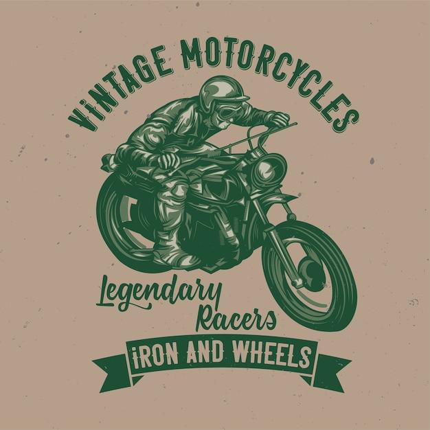 Illustration De L'homme Classique Sur La Moto Vecteur gratuit