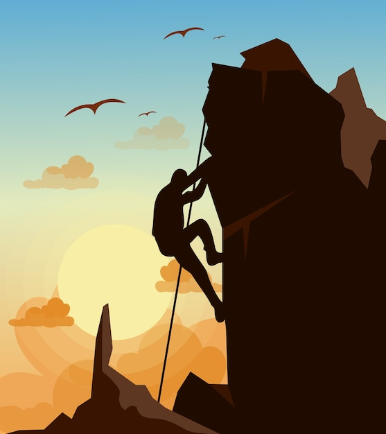 Illustration De L'homme D'escalade Sur Le Rocher Des Montagnes Sur Le Ciel Coucher De Soleil Avec Fond D'oiseaux Dans. Concept De Motivation. Vecteur Premium