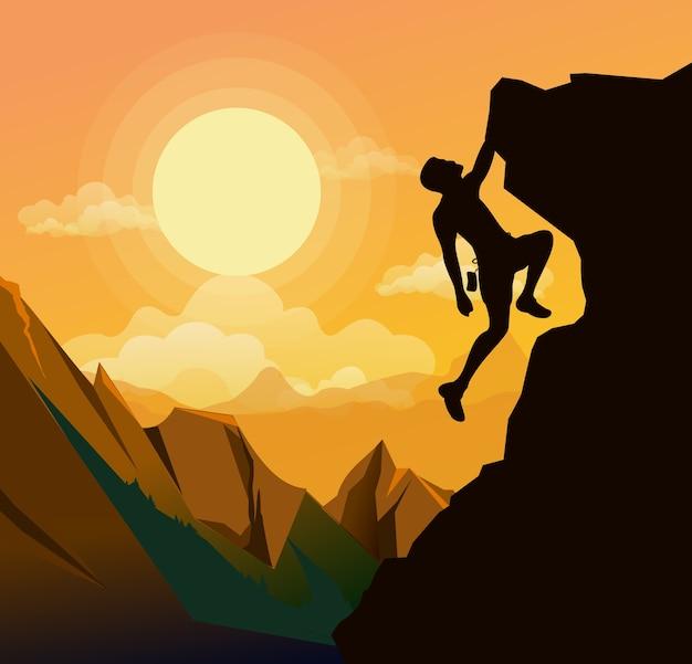 Illustration De L'homme D'escalade Sur Le Rocher Des Montagnes Sur Fond De Coucher De Soleil Dans. Concept De Motivation. Vecteur Premium