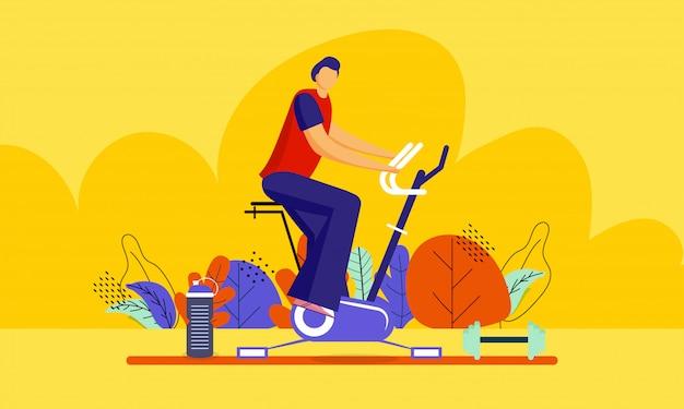 Illustration d'un homme faisant des exercices sur une machine à vélo Vecteur Premium