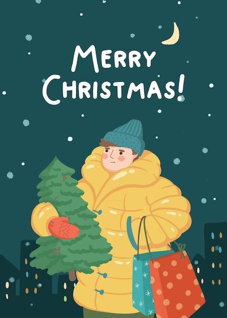Illustration De L'homme Joyeux Noël Avec Arbre De Noël Et Cadeaux Vecteur Premium