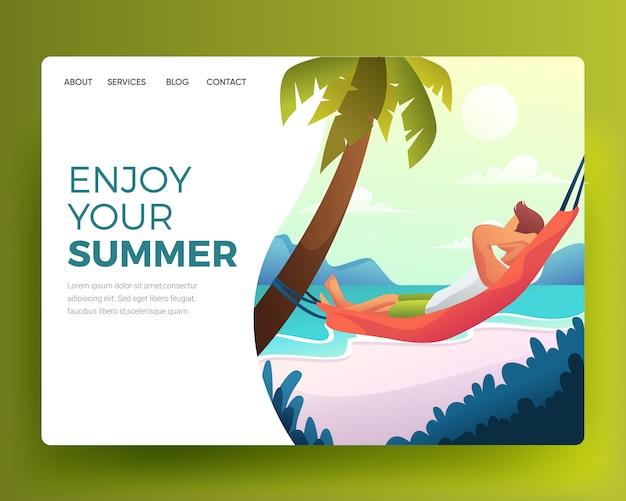 Illustration d'un homme qui dort sur la plage Vecteur Premium