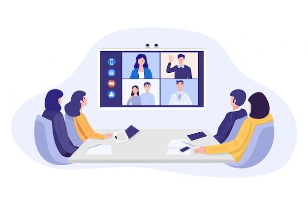 Illustration Des Hommes D'affaires Ayant Une Vidéoconférence. Vecteur Premium