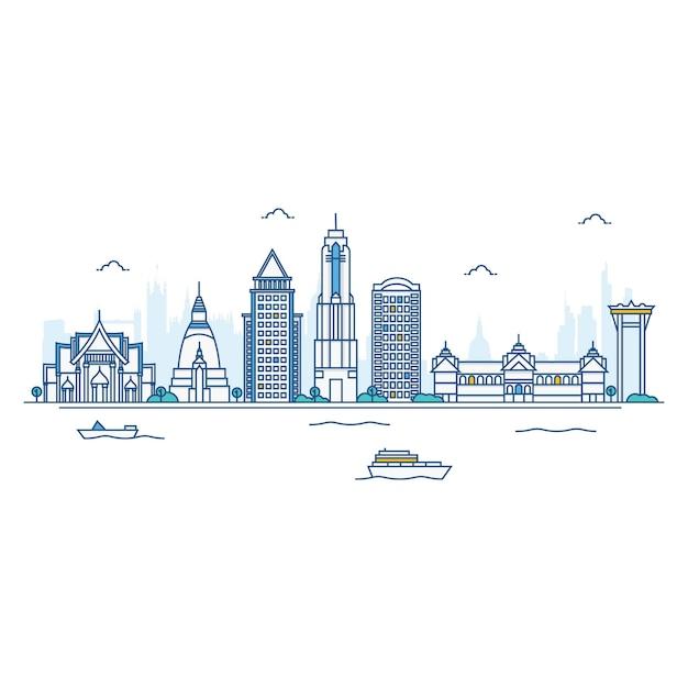 Illustration de l'horizon de bangkok. Vecteur Premium