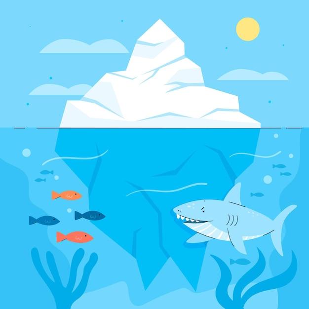 Illustration D & # 39; Iceberg Avec Requin Et Poisson Vecteur Premium