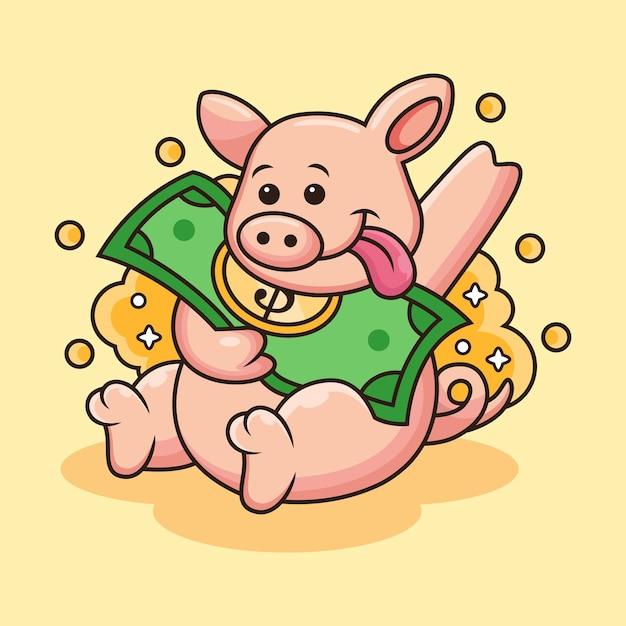 Illustration D'icône De Cochon Mignon Apporter De L'argent. Personnage De Dessin Animé De Mascotte Animale Avec Pose Mignonne Vecteur Premium
