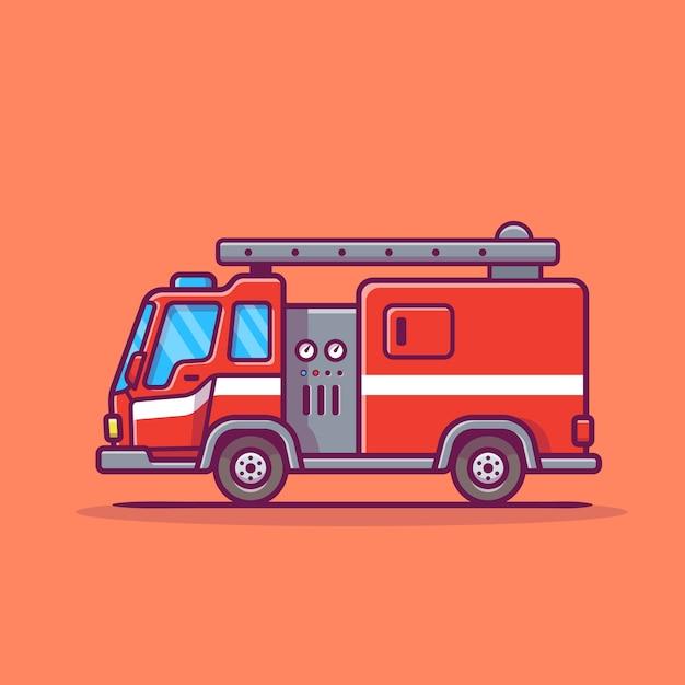 Illustration D'icône De Dessin Animé De Camion De Pompiers. Vecteur Premium