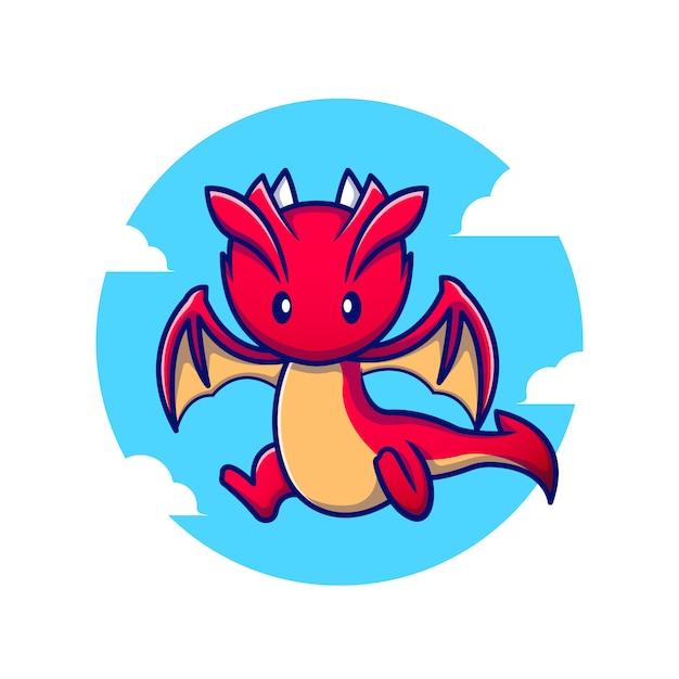 Illustration D'icône De Dessin Animé Mignon Dragon Volant. Concept D'icône De Fantaisie Animale Premium. Style De Bande Dessinée Vecteur Premium