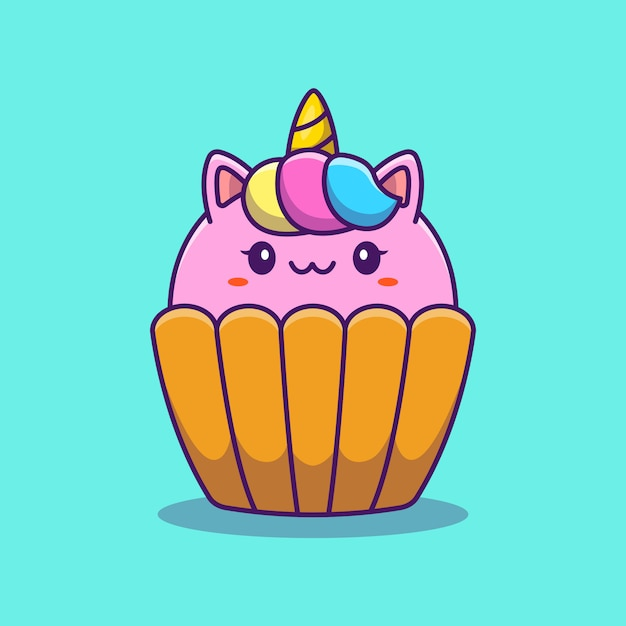 Illustration D'icône De Dessin Animé Mignon Licorne Cup Cake. Concept D'icône De Nourriture Animale Isolé Premium. Style De Bande Dessinée Plat Vecteur Premium