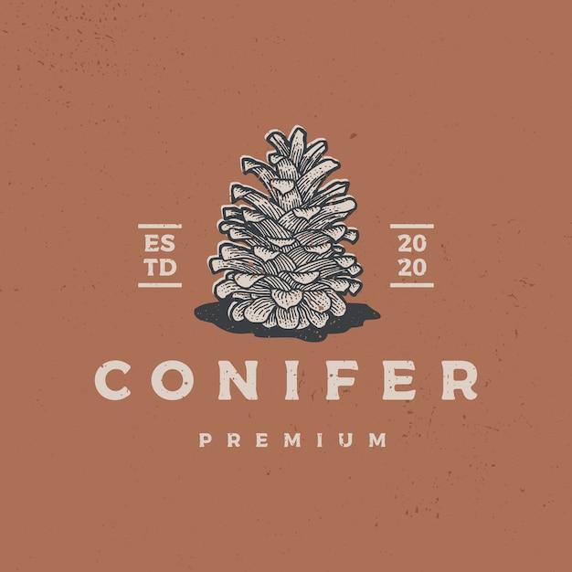 Illustration D'icône Logo Rétro Vintage Conifère Vecteur Premium