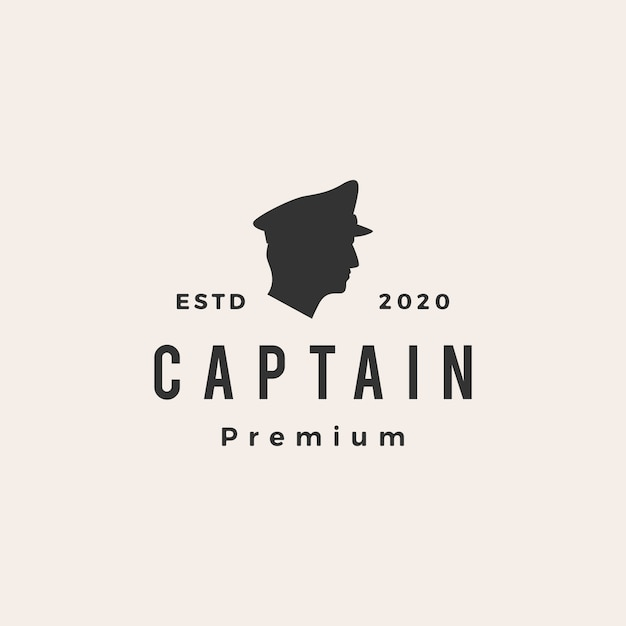 Illustration D'icône Logo Vintage Capitaine Vecteur Premium