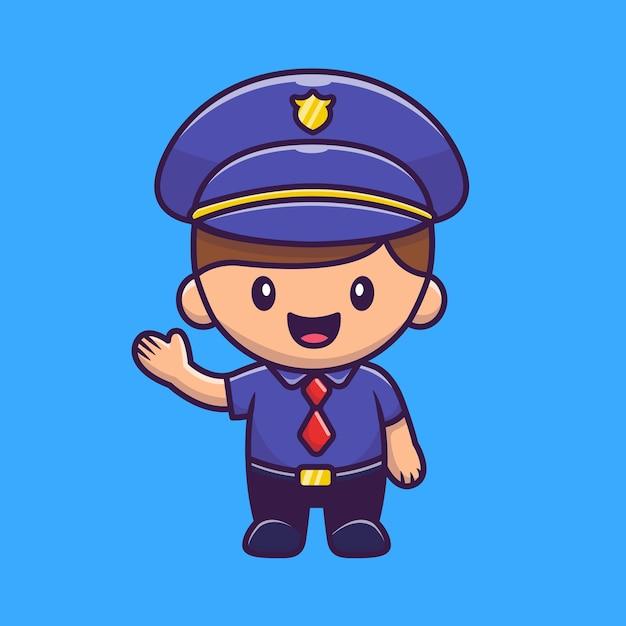 Illustration D'icône De Policier. Concept D'icône De Profession De Personnes. Vecteur Premium