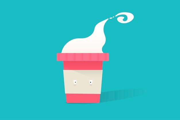 Illustration de l'icône de tasse de café chaud sur fond bleu Vecteur gratuit