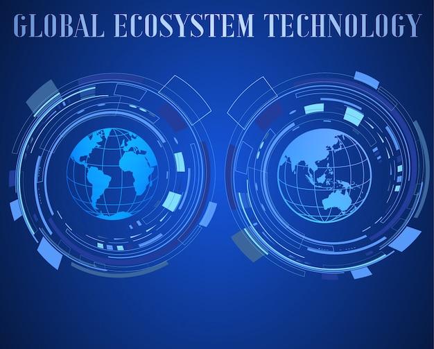 Illustration d'icône de la technologie numérique. internet de fond de modèle de choses. Vecteur Premium