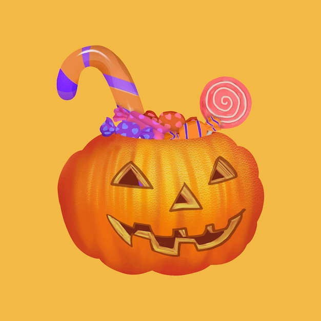 Illustration D'une Icône De Tour Ou De Gâterie Pour Halloween Vecteur gratuit