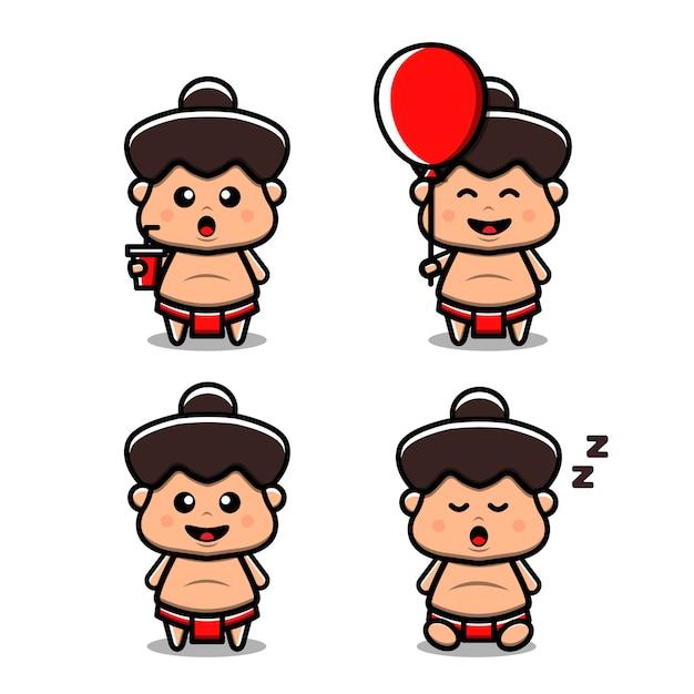 Illustration De L'icône Vecteur Sumo Mignon. Isolé. Style De Bande Dessinée Adapté Pour Autocollant, Page De Destination Web, Bannière, Flyer, Mascottes, Affiche. Vecteur Premium