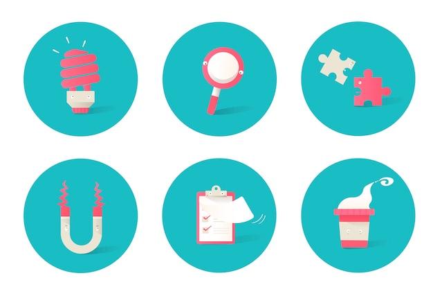 Illustration d'icônes d'affaires sur fond bleu Vecteur gratuit