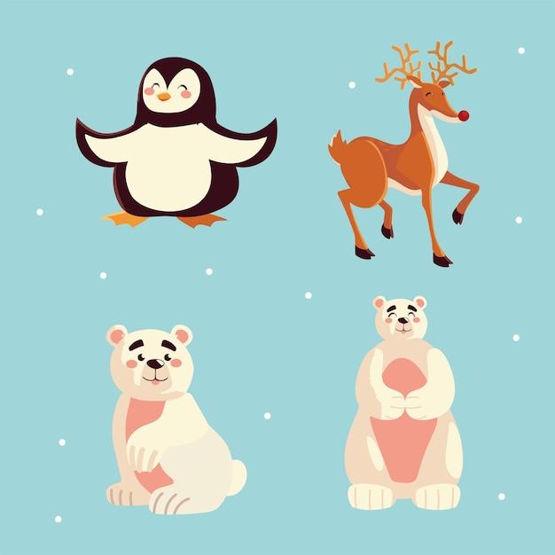Illustration D'icônes D'animaux Mignons Pingouin Ours Polaire Rennes Vecteur Premium