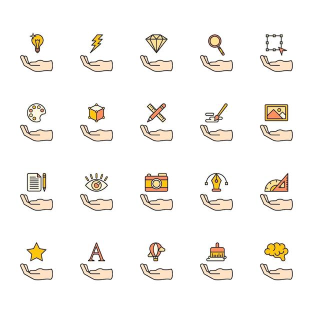 Illustration d'icônes de conception graphique Vecteur gratuit