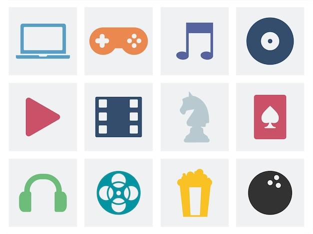 Illustration d'icônes graphiques de concept de divertissement Vecteur gratuit