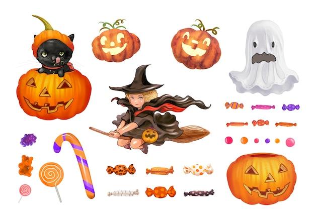 Illustration d'icônes sur le thème d'halloween Vecteur gratuit