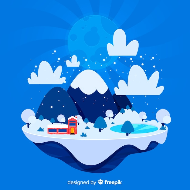 Illustration d'île hiver plat Vecteur gratuit