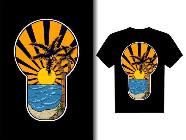 Illustration D & # 39; Illustration Pour La Conception De T-shirt Coucher De Soleil Sur La Plage Vecteur Premium