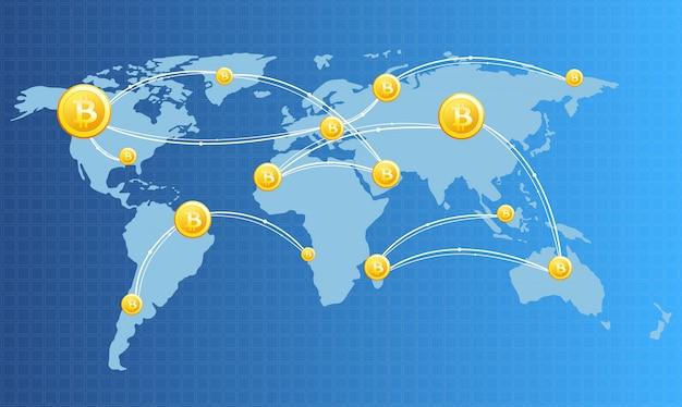 Illustration De L'image De Concept De Technologie Financière Avec Bitcoin Sur Le Fond De Carte Du Monde Dans Des Couleurs Claires. Monnaies Numériques, Crypto-monnaie, Monnaie Numérique Et Concept De Bitcoin. Vecteur Premium