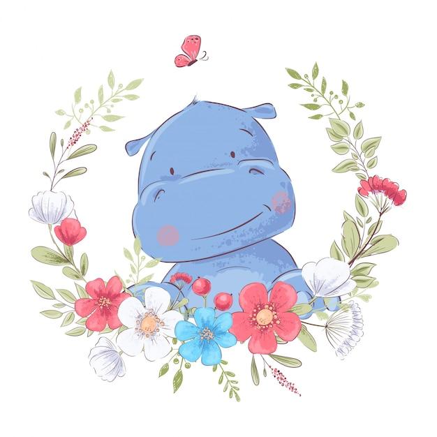 Illustration d'une impression pour la chambre d'enfants vêtue d'un joli hippopotame dans une couronne de fleurs rouges, blanches et bleues. Vecteur Premium