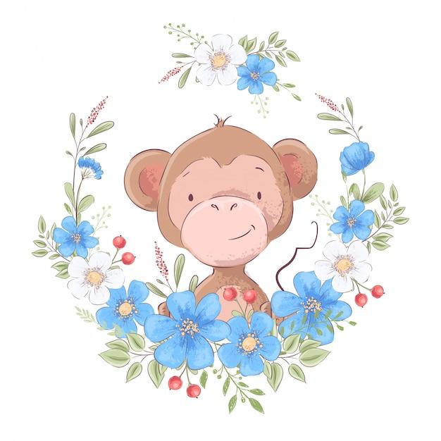 Illustration d'une impression pour la chambre d'enfants vêtue d'un singe mignon dans une couronne de fleurs bleues. Vecteur Premium