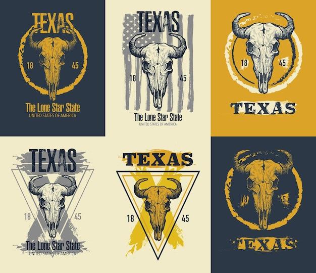 Illustration D'impression De Tee De Buffle Du Texas. Vecteur Premium